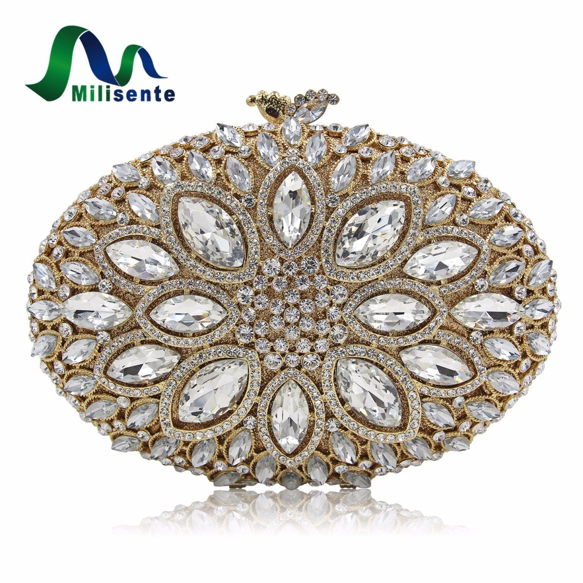 Milisenter Women Crystal Stones Evening Bags Ladies Luxury Oval Shape Party Bag Female Wedding Clutches Purses Withe Gold free shipping a15 36 sky blue color fashion top crystal stones ring clutches bags for ladies nice party bag