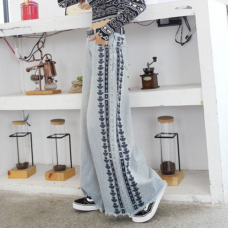 Women Embroidery Metal Chain Loose Casual Wide Leg Denim Female High Street Fashion Straight Jeans High Wiast Cowboy Trousers