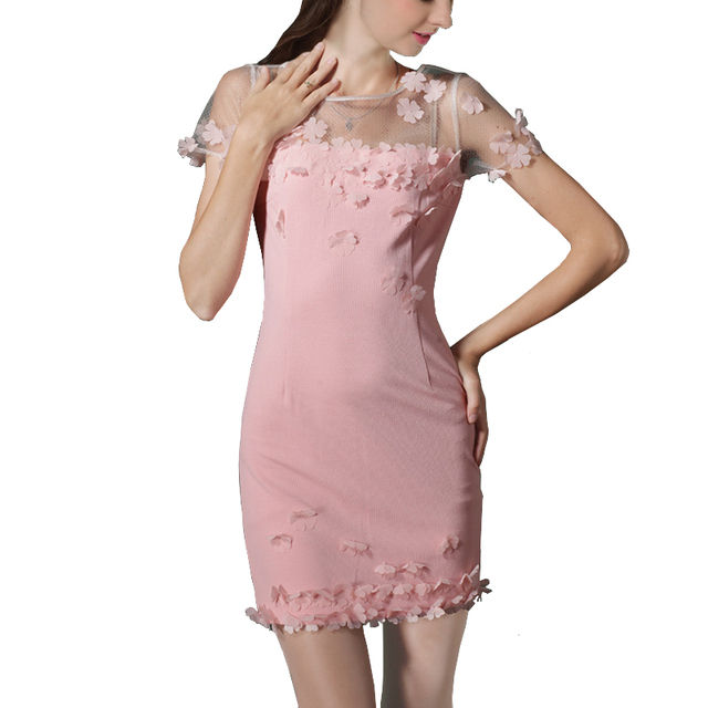 Girls Cute Dress Women Mesh Patchwork Hand Made Three-Dimensional Petals Dodycon Pink Dress Dodycon Mini Petite Dresses To Party