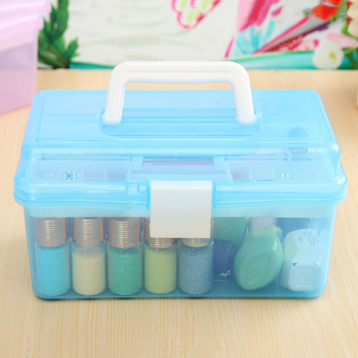 Craft supply storage containers - 2 Layer Multi Plastic Empty Storage Case Box Nail Art Craft Makeup Collection Tool Box Supplies