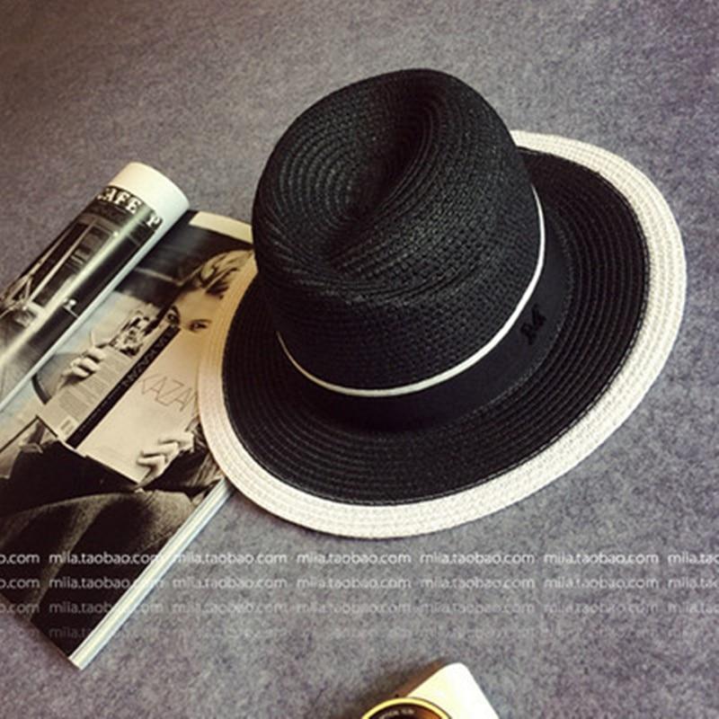 f94bbdc5d26 Elegant Black Jazz Hats For Women New 2017 White Sun Hat Men Formal Blue  Summer Beach Cap Luxury Brand Letter M Fedora Straw Hat-in Sun Hats from  Apparel ...