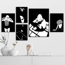 Fashion Girl Silhouette Figure Wall Art Canvas Painting Nordic Posters And Prints Black White Pictures For Living Room