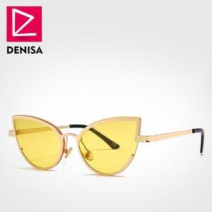Женские солнцезащитные очки DENISA, красные, кошачий глаз, с синими линзами в стиле ретро, UV400, G22013, 2019