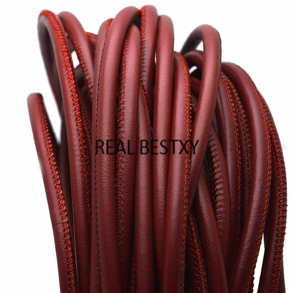 จริง BESTXY 1 เมตร/ล็อต 5mm สีแดง Faux หนังรอบลูกไม้ String เย็บหนังสายสำหรับสร้อยข้อมือสร้อยคอ DIY สายรัด string