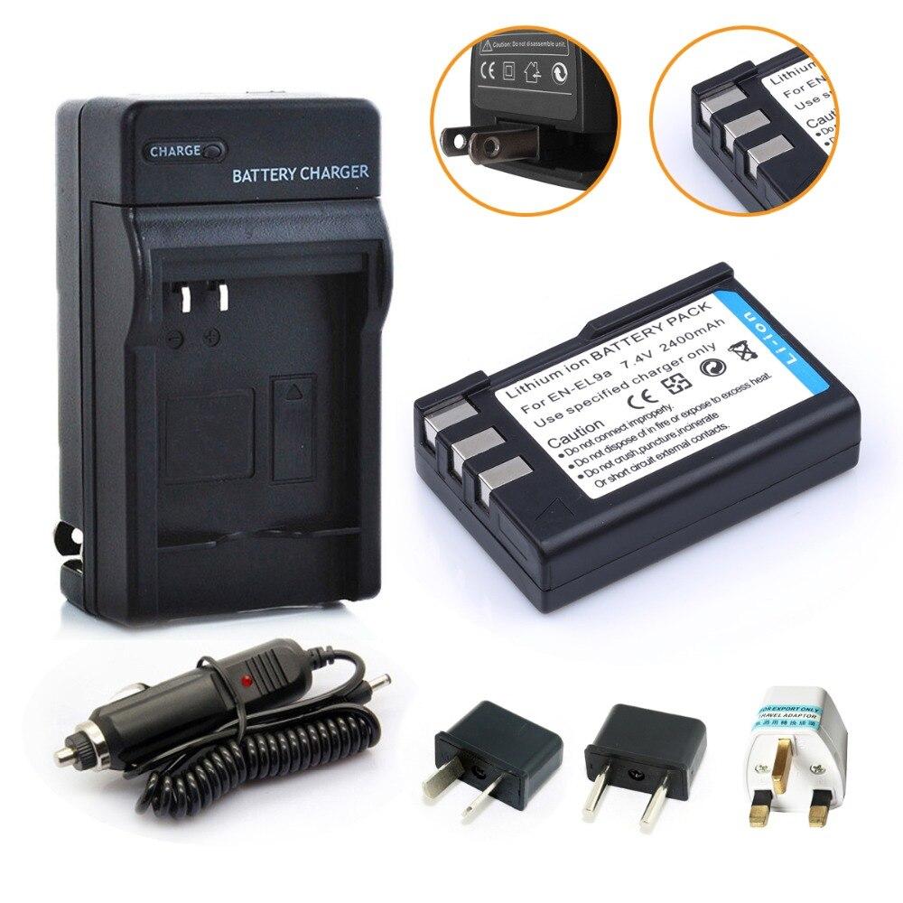 HIBTY 2400mAh EN-EL9 EN EL9 ENEL9 Rechargeable Camera Battery For + Car Charger + Adapter Nikon EN-EL9a D40 D40X D60 D3000 D5000
