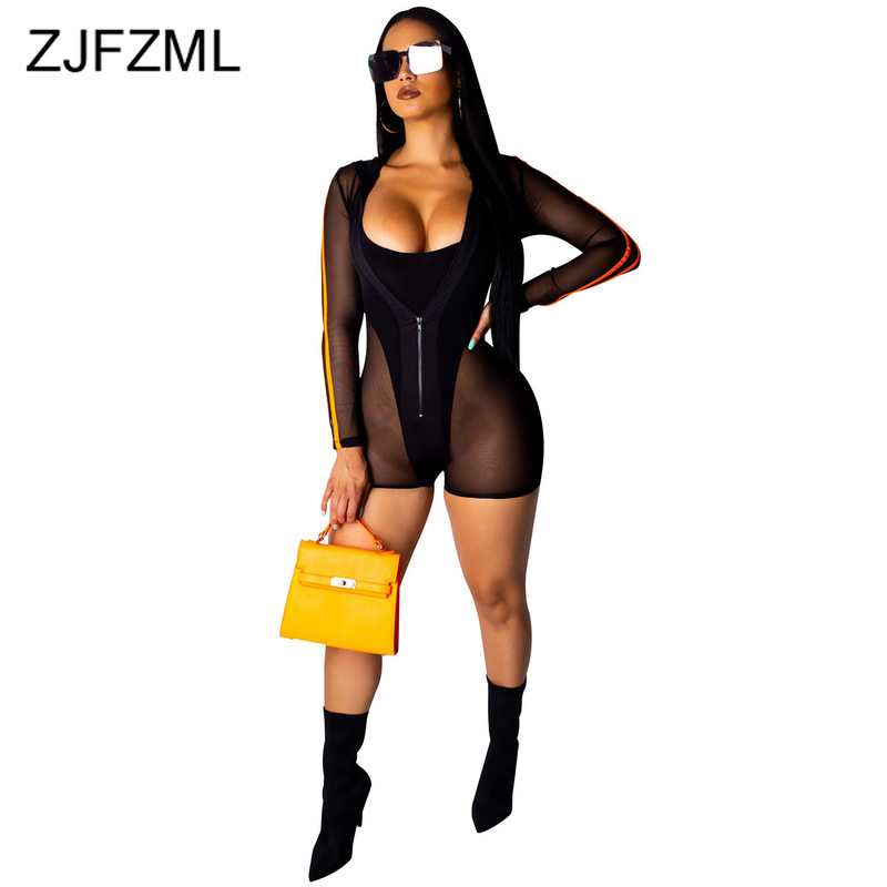 Sheer Mesh Patchwork Fitness   Jumpsuits   Women Striped Long Sleeve Hooded Short Playsuit Casual Front Zipper See Through Bodysuit