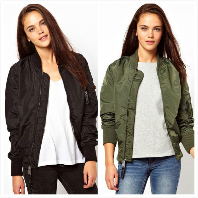 Fashion Pilot Jackets Women Baseball shirt bomber anorak camperas femme military  jacket Black Green Full sleeve Zipper Fashion 358c168c84