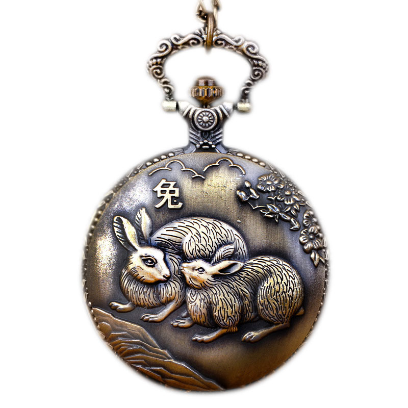 Large Bronze Quartz Pocket Watch 12 Zodiac Hanging Watch Pocket Watch