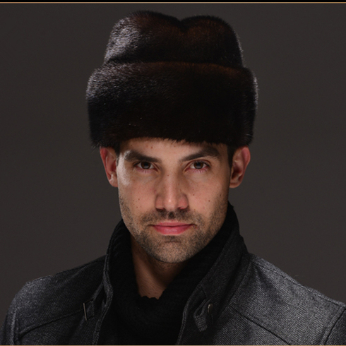 HM029  Real genuine mink  fur hat  winter Russian men's warm caps whole piece mink fur hats
