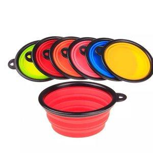 50 шт./лот, бесплатная доставка, 6 видов цветов, силиконовая складная миска для кормления собак и кошек, портативная кормушка для путешествий ...