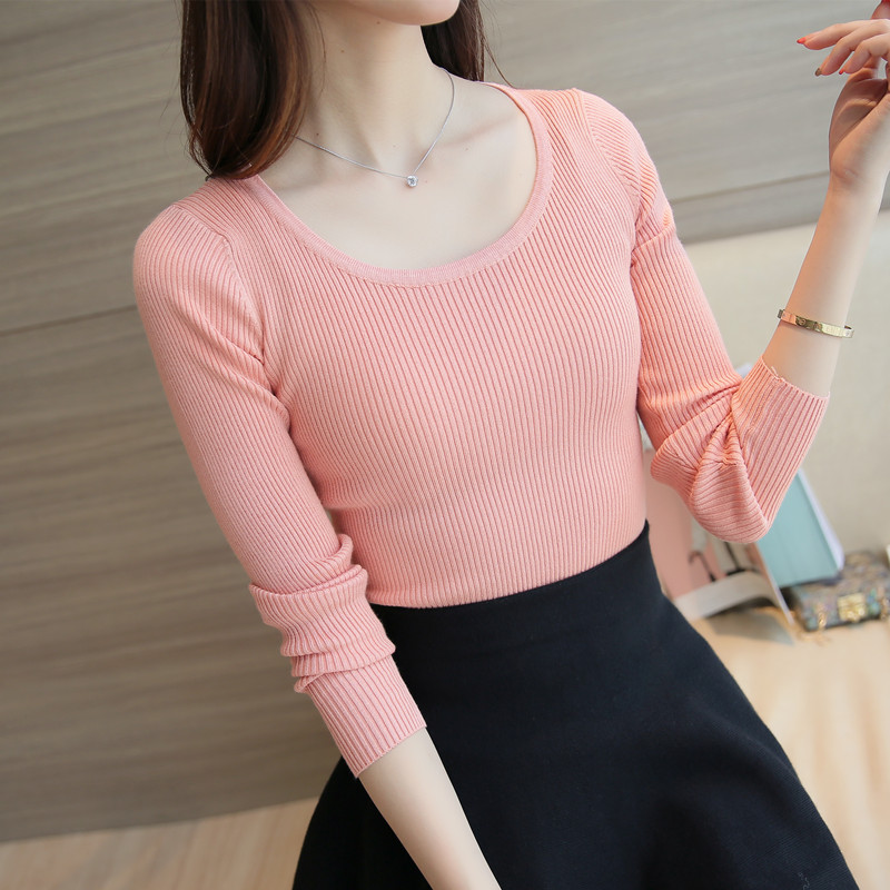 Primavera del diseño corto delgado elástico del o-cuello femenino suéter negro d