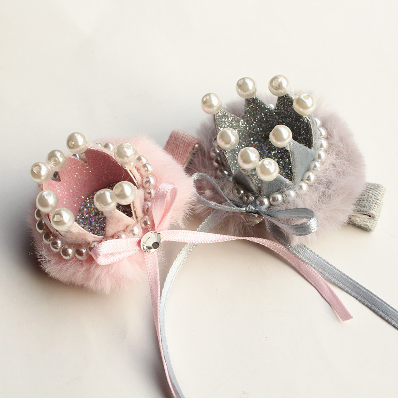 10pc/lot New Delicated Girls Prince Crown Hair Clip Top Quality Hairpin Kid Solid Ribbon Barrette Luxury Korean Cute Hair Pearls