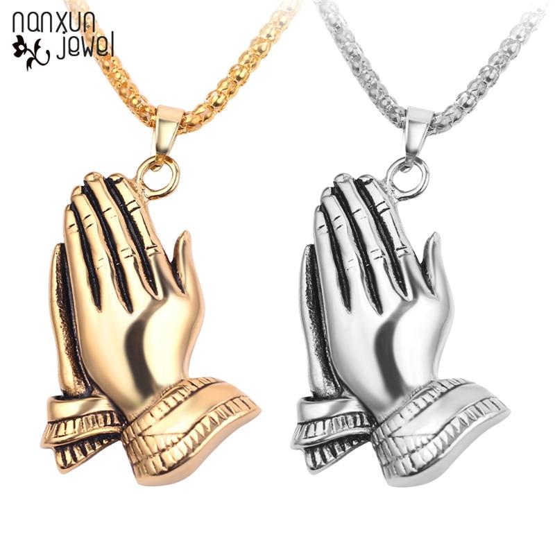 As Mãos Rezando 60cm Longa Cadeia de Presente da Jóia Pingente Colares Irmão kolye Colar de Hip Hop Homens Cadeia de Jóias