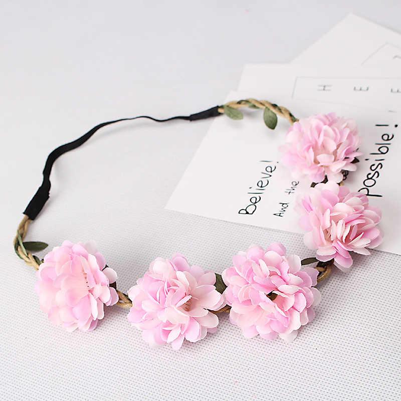 M Mism Fabric Headband Mahkota Bunga Kawaii Aksesoris Rambut untuk Wanita Pernikahan Festival Putri Opaska Liburan Wianek Kwiatowy