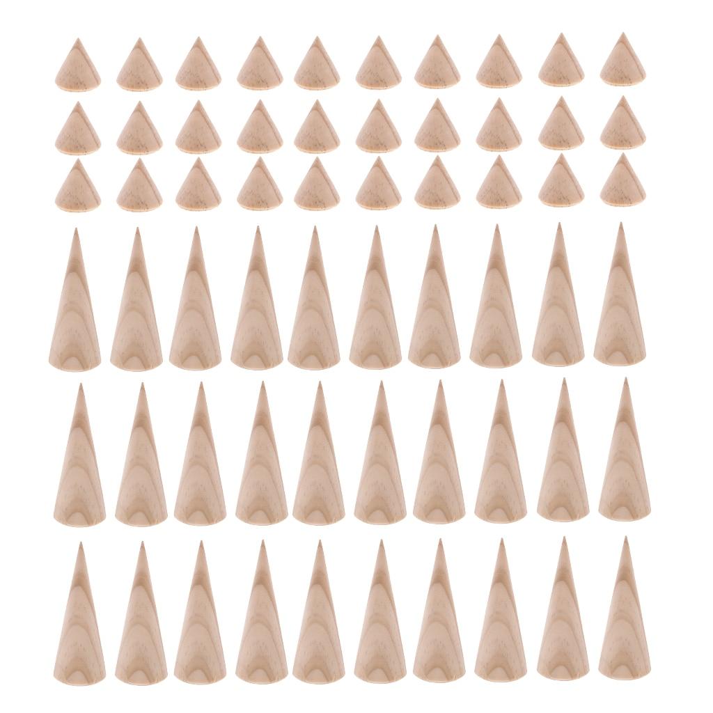 MagiDeal 60 piezas al por mayor cono sin terminar forma de madera 3 cm/8 cm estante de exhibición de almacenamiento-in Envase y exposición de joyería from Joyería y accesorios    1