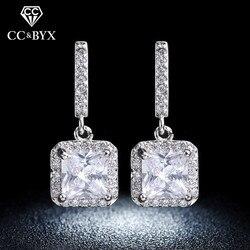 Изысканные серебряные серьги для женщин квадратный блестящий камень AAA кубический цирконий белого золота цвет серьги-гвоздики модные ювел...