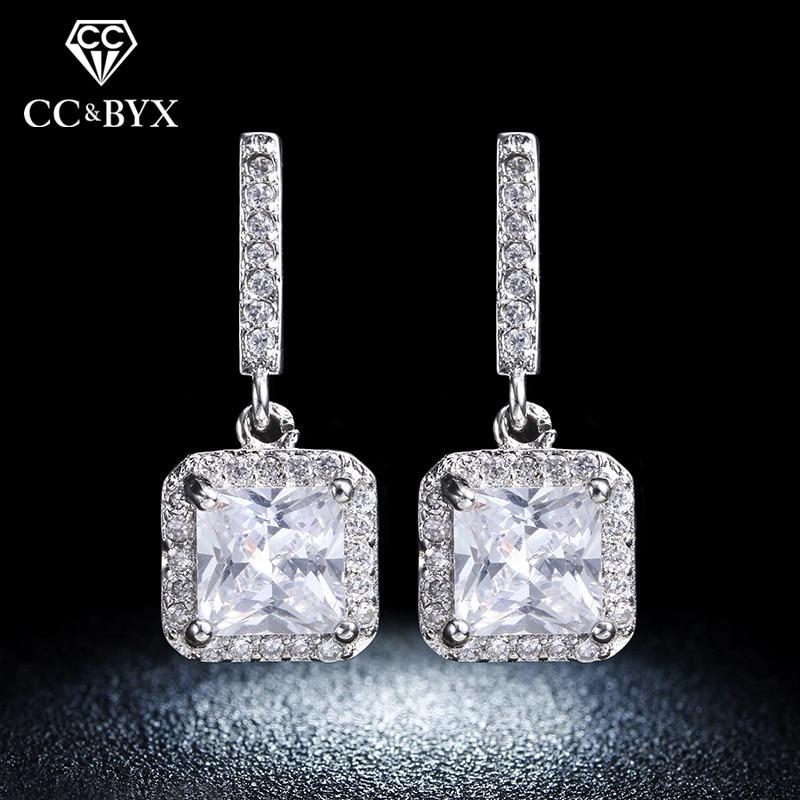 Pendientes de plata fina para las mujeres Square Shine Stone AAA Cubic Zirconia Color oro blanco Stud Pendientes de joyería de moda E033