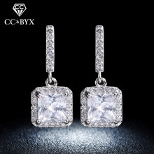 Fine Silver Earrings For Women Square Shine Stone AAA Cubic Zirconia White Gold Color Stud Earrings Fashion Jewelry E033