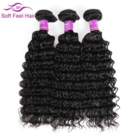 Soft Feel Hair Brazilian Deep Wave Non Remy Hair Natural Color 100 Human Hair Weaving 8