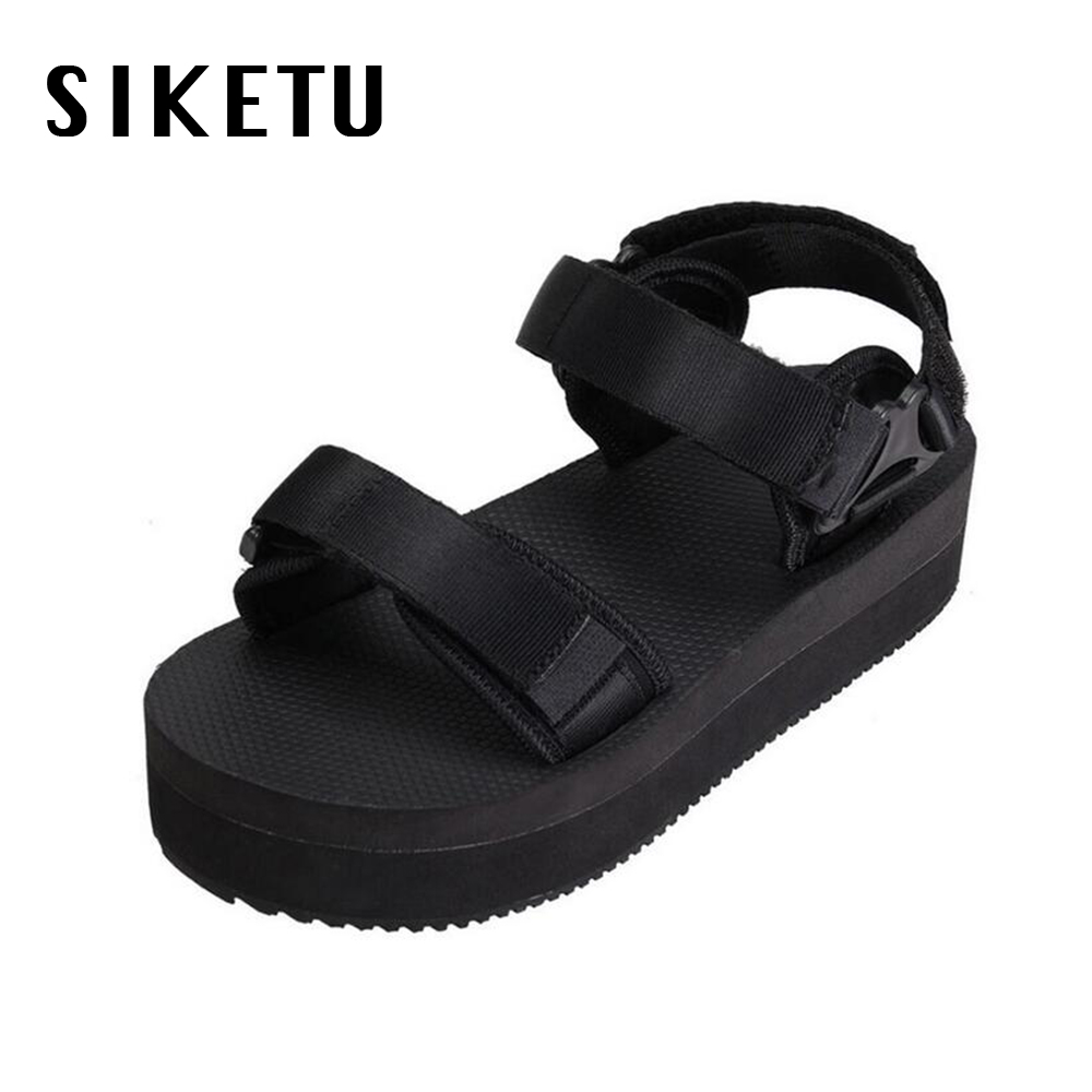 Black sandals holiday - 2017 Summer High Heels Sandals Women Holiday Fashion Black Platform Thick Bottom Non Slip Girls