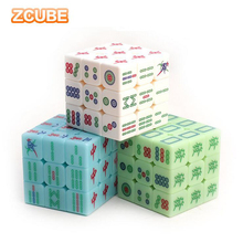 3x3x3 Zcube Chinese style Mahjong Magic Cubes Speed Puzzle Smooth Transparent Luminous Cube Educational Toys for Children