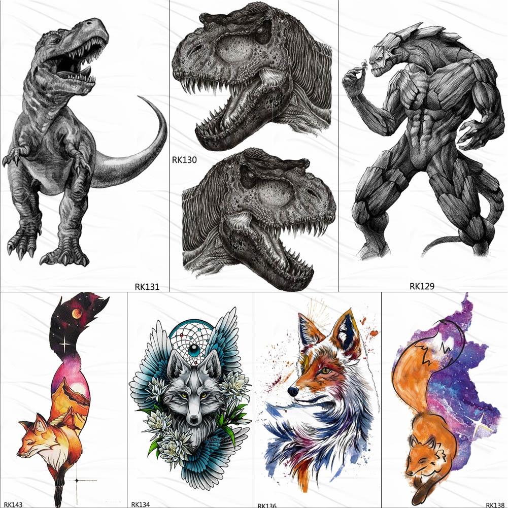 OMMGO Dinosaur Monster Fierce Temporary Tattoos Sticker Roar Tyrannosaurus Rex Custom Tattoo Body Art Arm Wrist Fake Tatoos Men