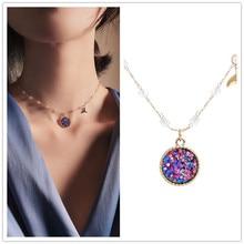 DREJEW Korean Mermaid Pink Purple Rice Crystal Pendant Necklaces Sets Long Tassel 925 for Women Wedding Jewelry HN133