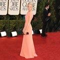 Emma Stone 2017 Golden Globe Awards Formal Vestido Até O Chão Elegante Cut Out Abrir Voltar Vestidos de Celebridades de Manga Curta Online