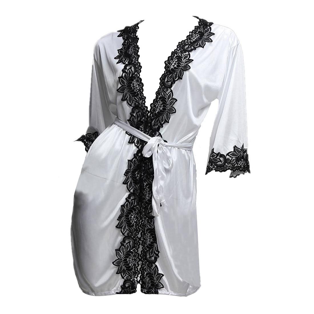 Sexy lace underwear night satin with string morning coat sleepwear Women Nightgowns Cotton Casual Home Nightwear