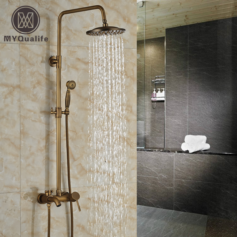 Wal Mount Antique Brass Bath Shower Mixer Faucet Single Handle 8 Rainfall Shower Faucet with Handshower bathroom single handle bath shower mixer faucet wall mount 8 rainfall exposed shower mixer height adjustable antique brass