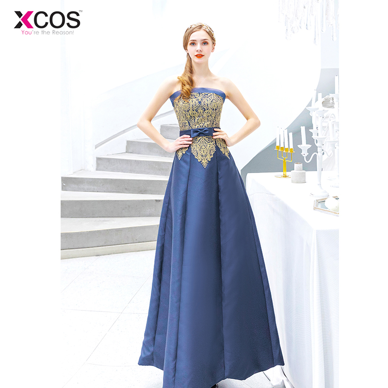 Sexy Satin Long   Prom     Dresses   2019 New Appliques Strapless Vintage Navy Blue Evening   Dress   Vestido De Festa