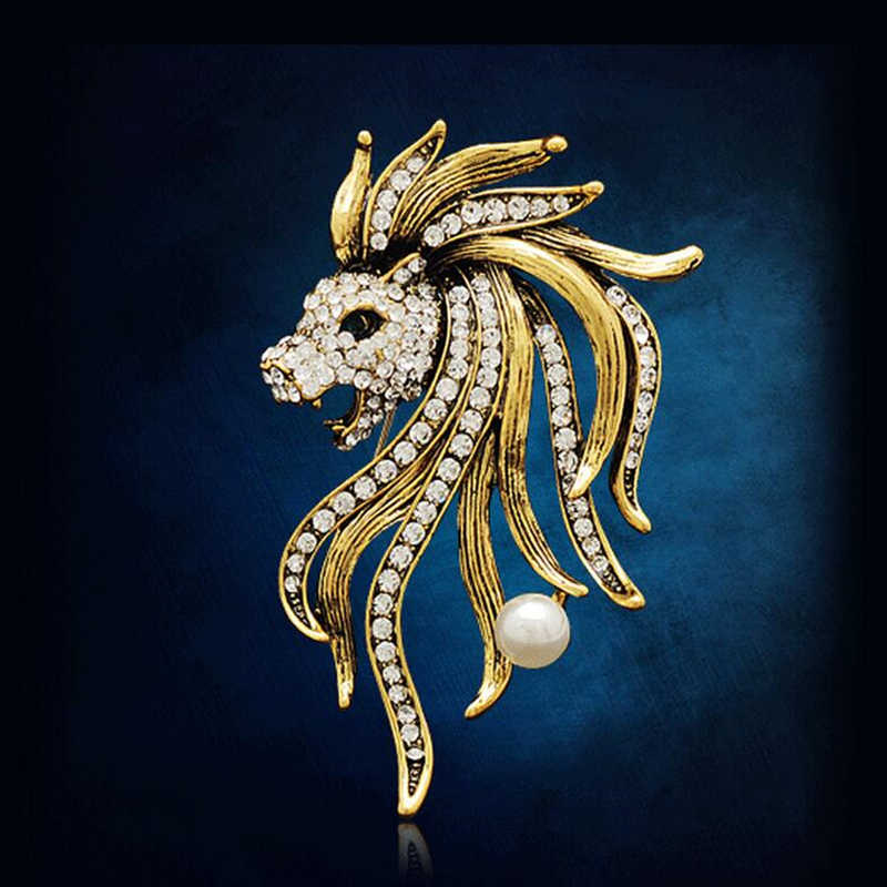 Retro Lion Brooches Rhinestone Animal Brooch Pin Men's Women's Suit Pin