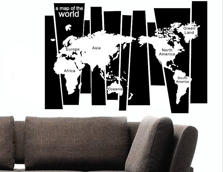 Hot sale 75105cm cool black white world map wall sticker room hot sale 75105cm cool black white world map wall sticker room high quality eu usa fashion home decro diy poster zy8120 in wall stickers from home gumiabroncs Choice Image
