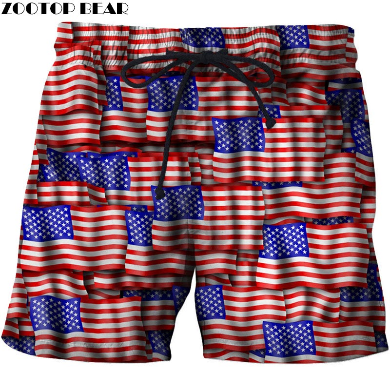 Multi-faceted Flag Men Beach Shorts Men Board Shorts Plage Male Casual Summer Quick Dry USA Flag Swimwear DropShip ZOOTOP BEAR image