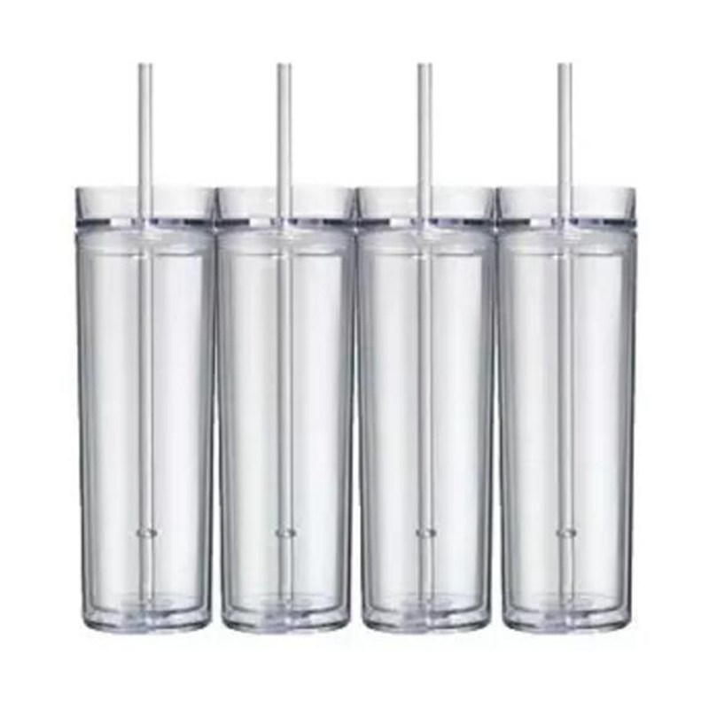 hot selling products 16oz double wall insulated acrylic plastic skinny tumbler with sliding lid and straw