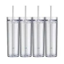 Heißer verkauf produkte 16 unze doppelwand isoliert acryl-kunststoff dünne tumbler mit schiebedeckel und stroh