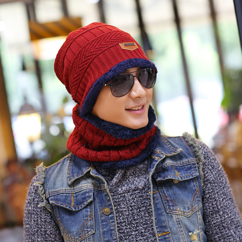 Xuyijun Balaclava Knitted hat scarf cap neck warmer Winter Hats For Men women skullies beanies warm Fleece dad cap
