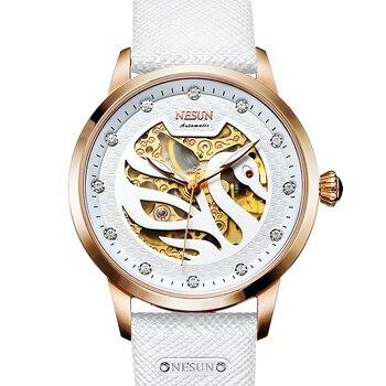 Switzerland Luxury Brand Nesun Women Watch Automatic Self-Wind Genuine Leather Watches women Waterproof Swan Shape clock N9301-4