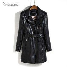 Brieuces Medium-Long Leather Jacket Women 2017 New Autumn Plus Size 5XL Black/Army Green Spliced Sashes Coat