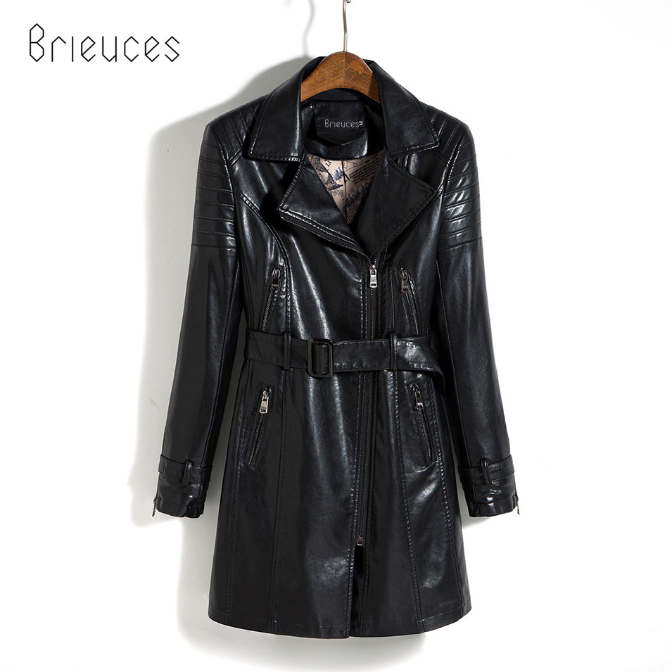 Brieuces Medium-Long   Leather   Jacket Women 2017 New Autumn Plus Size 5XL Black/Army Green Spliced Sashes Women   Leather   Coat