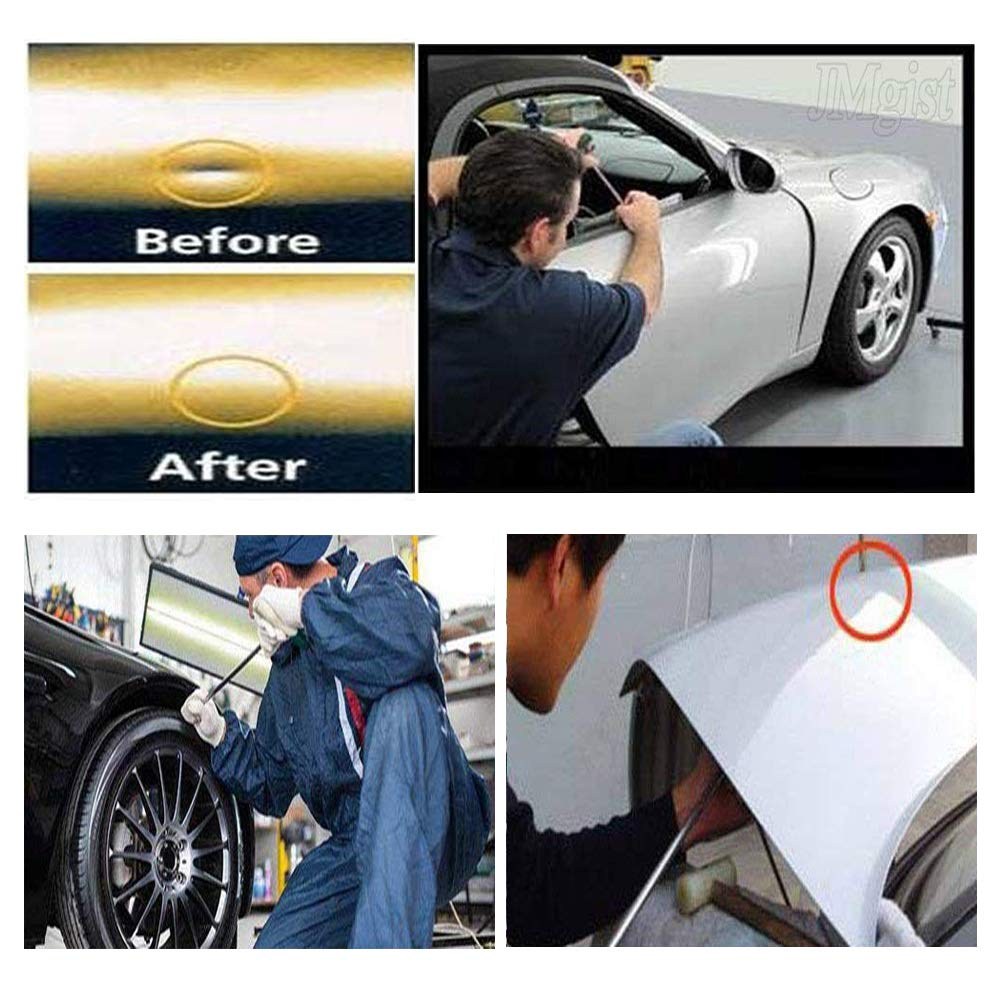 PDR Rods Tools Paintless Dent Repair Kits with 8 Taper Head and S-Hook for Car Auto Body Dents Hail Damage Removal Set Stainless