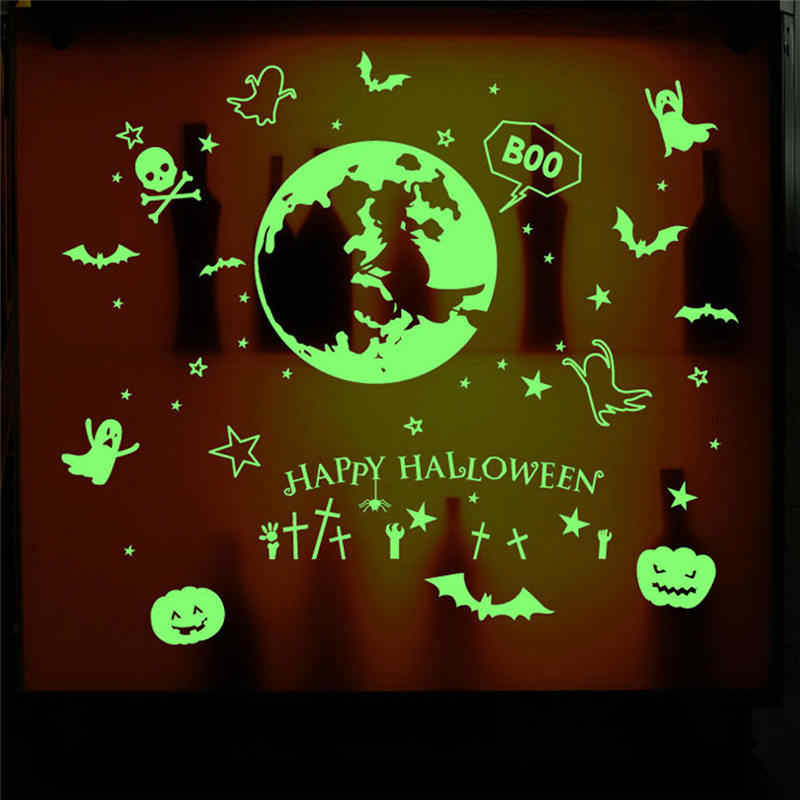 3D Home Furnishing decorative Luminous wall sticker light-emitting Halloween Witch wallpaper children room ceiling decor