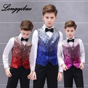 High quality 2019 children's color gradient sequins vest boy stage host recited piano performance vest vest catwalk suit(China)