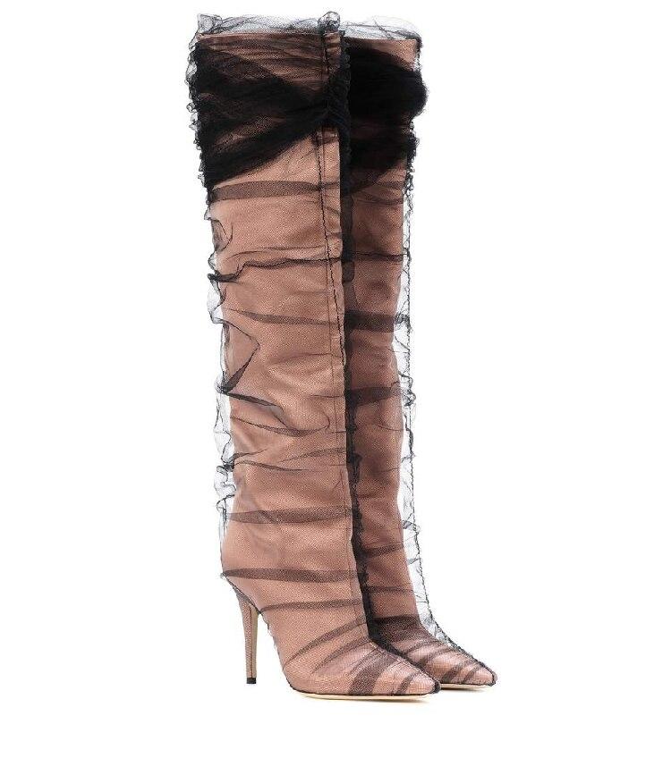 De Pvc Show Show Transparent Genou Pointu Pistes as Chaussures Sexy As Bottes Femmes Haute Soie Haut Défilé Satin Et Bout Tissu Talon Mode Robe Fq6FwYp1