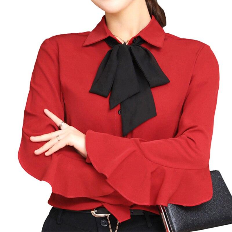 Черный бант Декор Леди шифоновые рубашки плюс Размеры S-4XL красный/розовый/белый Для же ...