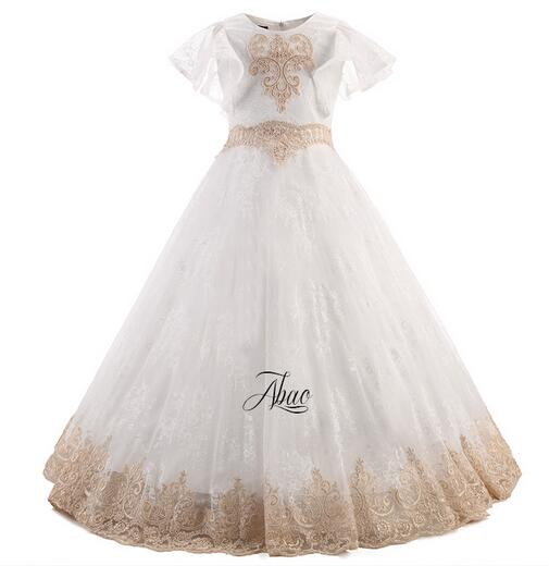 цены Girls Long Formal Dress 2017 Flower Girls Princess Dresses Kids Lace Vintage Evening Party Ball Gown Children's Wedding Dress