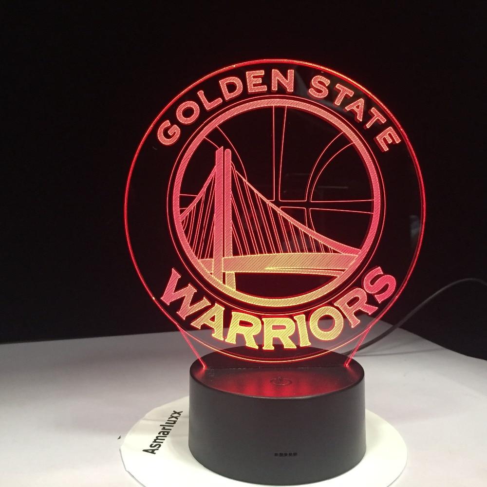 все цены на NBA Golden State Warriors 3D LED Night Light 7 Colors Changing Sleeping Table Desk Lampe Lamp Bedroom Sports Fans Decor Gift онлайн