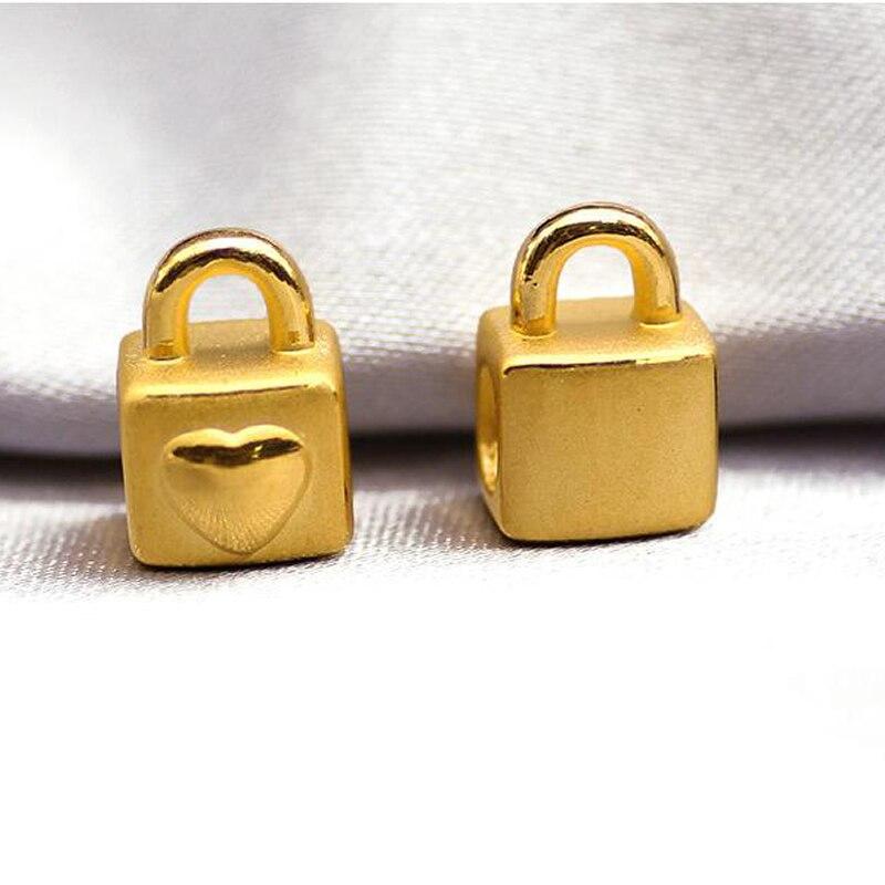 1 pièces solide 24 K Bracelet en or jaune 999 or coeur serrure Bracelet 0.84g
