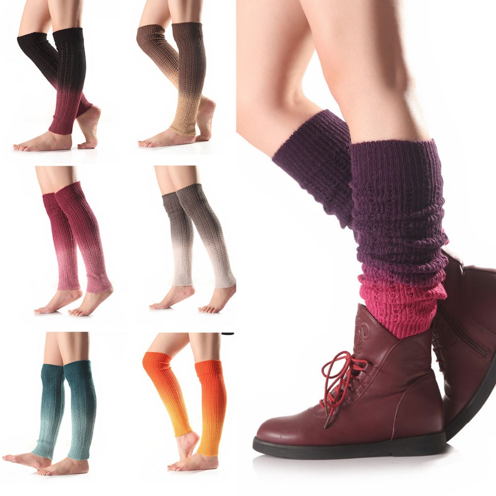 1 Pair Hot Retro Unisex Adult Junior Ribbed Knitted Leg Warmers Women Solid Color Knit Winter Leg Warmers Knee High Legging Boot