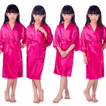 Hot Sale Plum Silk Kid Robe Kimono Robes Bridesmaid Dress Children Bathrobe Sleepwear Baby Clothes children's bathrobe 010607(China)